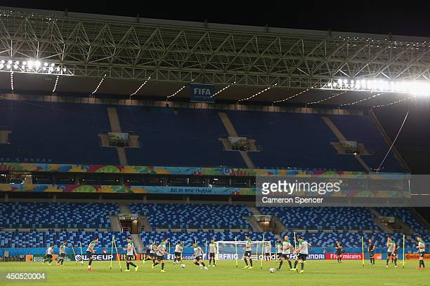 A general view during an Australian Socceroos training session at Arena Pantanal on June 12 2014 in Cuiaba Brazil
