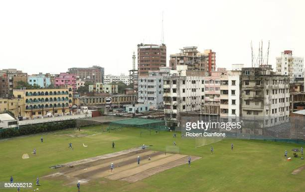 A general view during an Australian Test team nets session at SherE Bangla National Cricket Stadium on August 21 2017 in Dhaka Bangladesh
