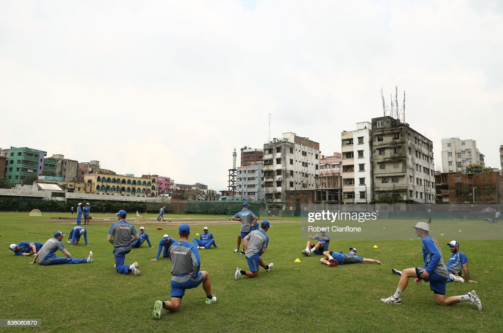 A general view during an Australian Test team nets session at Sher-E Bangla National Cricket Stadium on August 21, 2017 in Dhaka, Bangladesh.