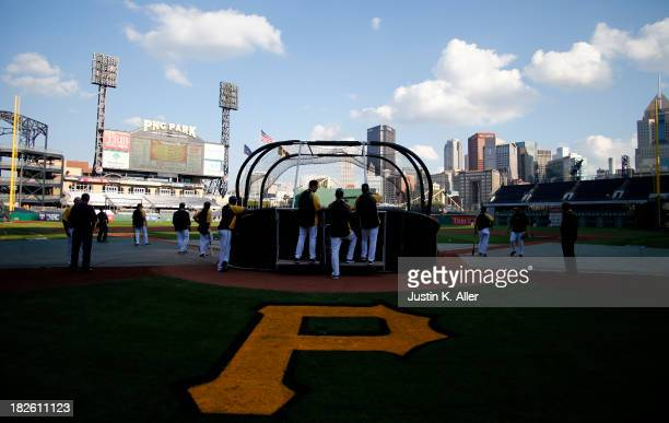A general view during batting practice before the National League Wild Card game at PNC Park October 1 2013 in Pittsburgh Pennsylvania