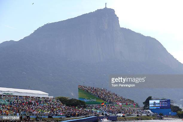 A general view during Canoe Sprint on Day 11 of the Rio 2016 Olympic Games at the Lagoa Stadium on August 16 2016 in Rio de Janeiro Brazil