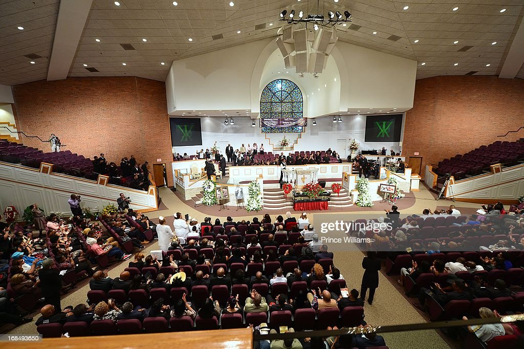 General view during Chris Kelly's Funeral Service at the Jackson Memorial Baptist Church on May 9 2013 in Atlanta Georgia