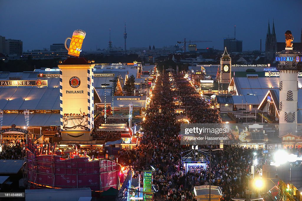General view during day 1 of the Oktoberfest 2013 beer festival at Theresienwiese on September 21, 2013 in Munich, Germany. The Munich Oktoberfest, which this year will run from September 21 through October 6, is the world's largest beer fest and draws millions of visitors.