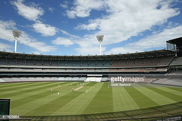 A general view during day one of the Sheffield Shield match between Victoria and Tasmania at the Melbourne Cricket Ground on October 25 2016 in...