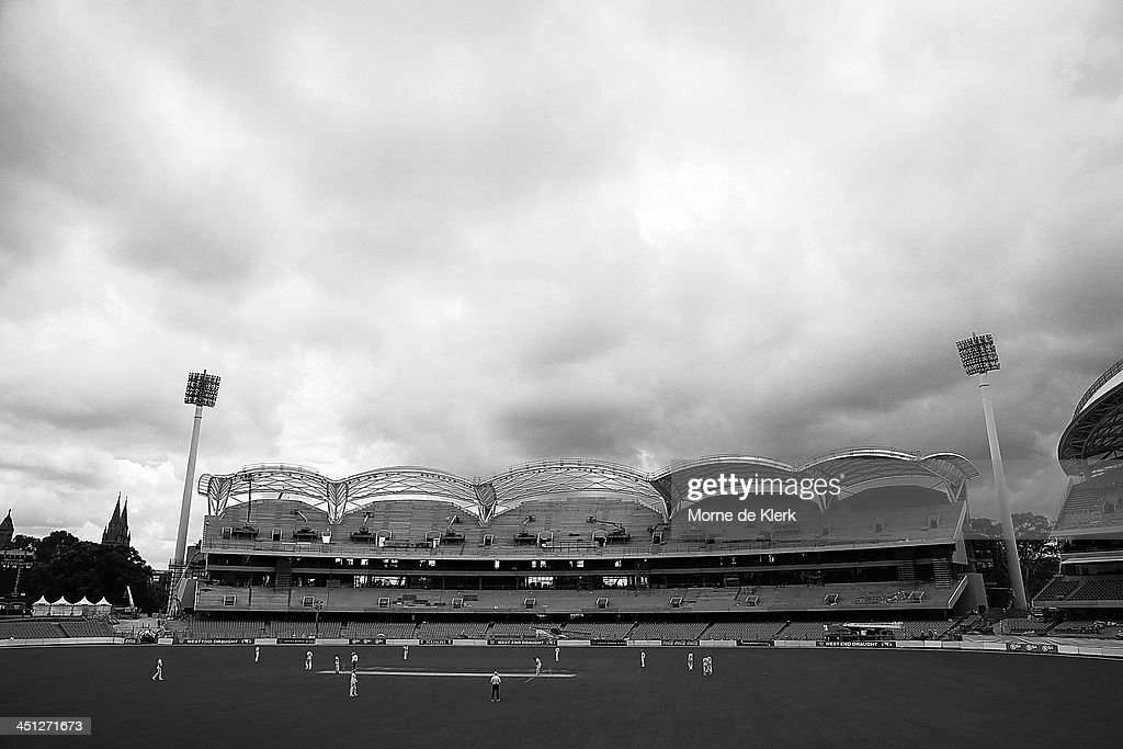 A general view during day one of the Sheffield Shield match between the South Australia Redbacks and the Tasmania Tigers at Adelaide Oval on November 22, 2013 in Adelaide, Australia.