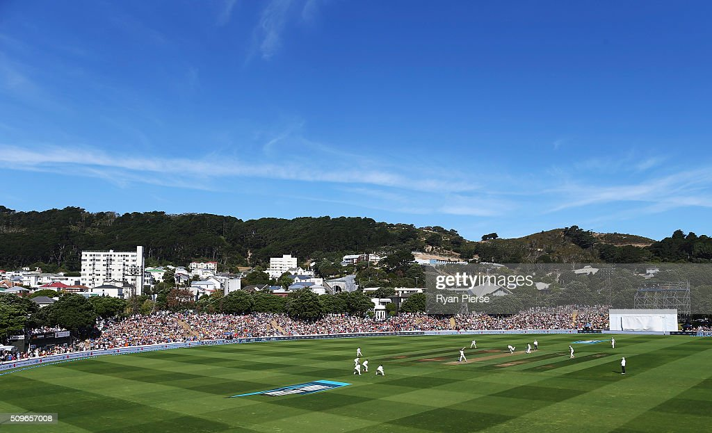 A general view during day one of the Test match between New Zealand and Australia at Basin Reserve on February 12, 2016 in Wellington, New Zealand.