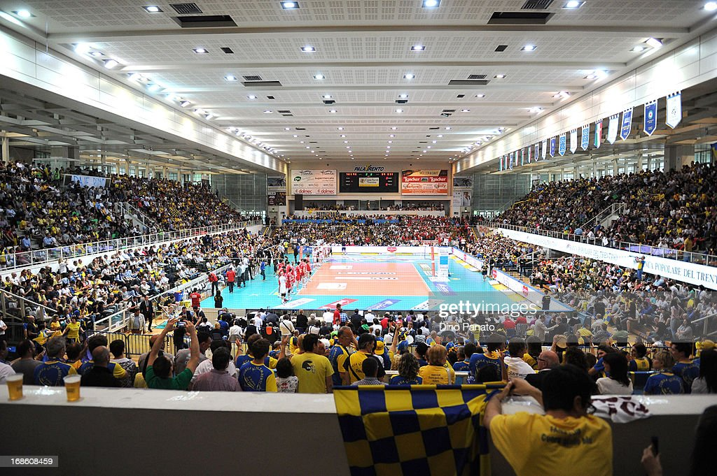 A general view during game 5 of Playoffs Finals between Itas Diatec Trentino and Copra Elior Piacenza at PalaTrento on May 12, 2013 in Trento, Italy.