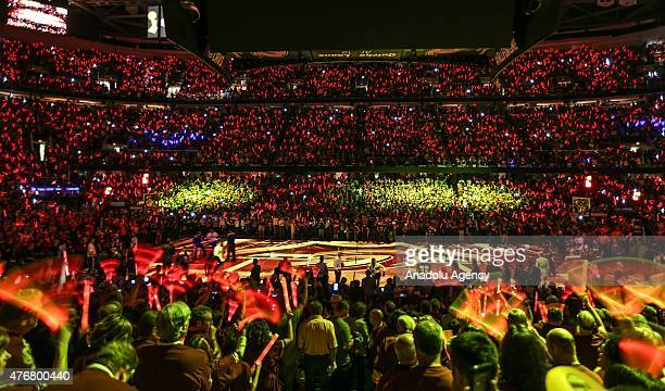 A general view during Game Four of the 2015 NBA Finals between the Golden State Warriors and the Cleveland Cavaliers at Quicken Loans Arena on June...