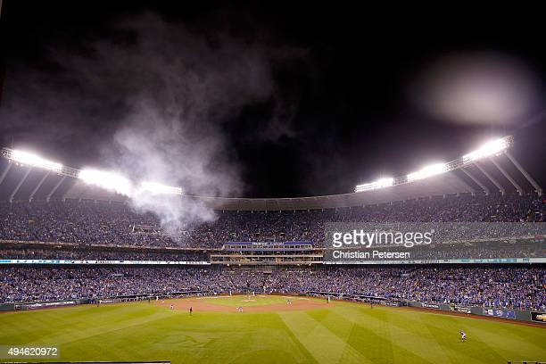 A general view during Game One of the 2015 World Series between the Kansas City Royals and the New York Mets at Kauffman Stadium on October 27 2015...