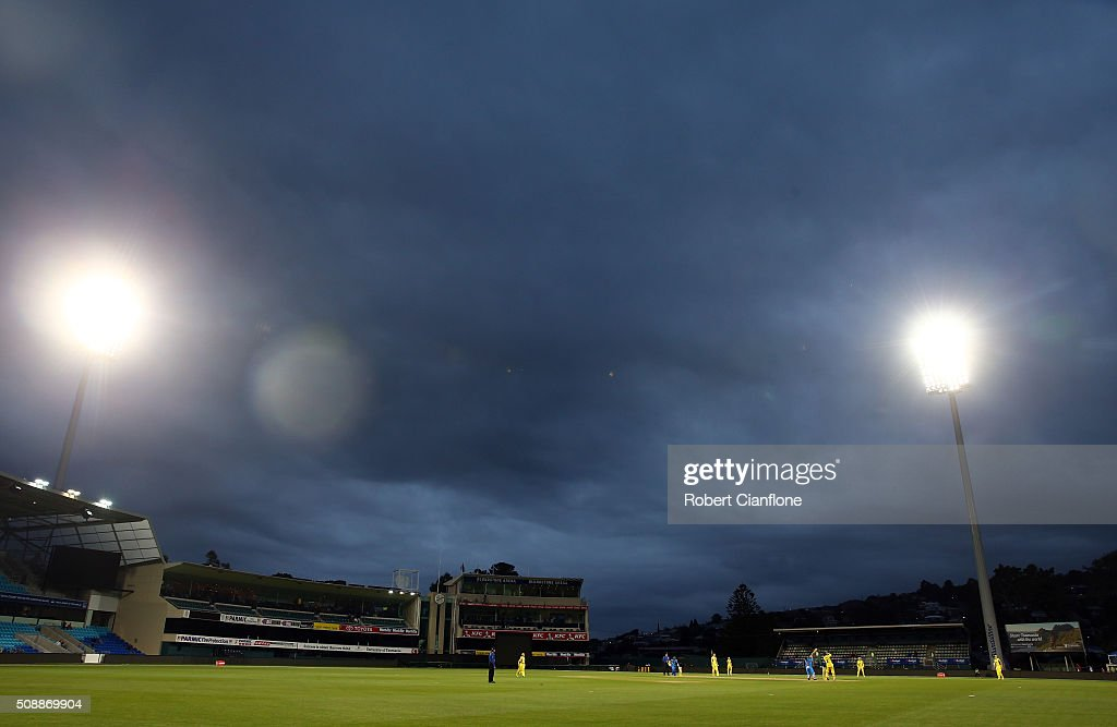 A general view during game three of the one day international series between Australia and India at Blundstone Arena on February 7, 2016 in Hobart, Australia.