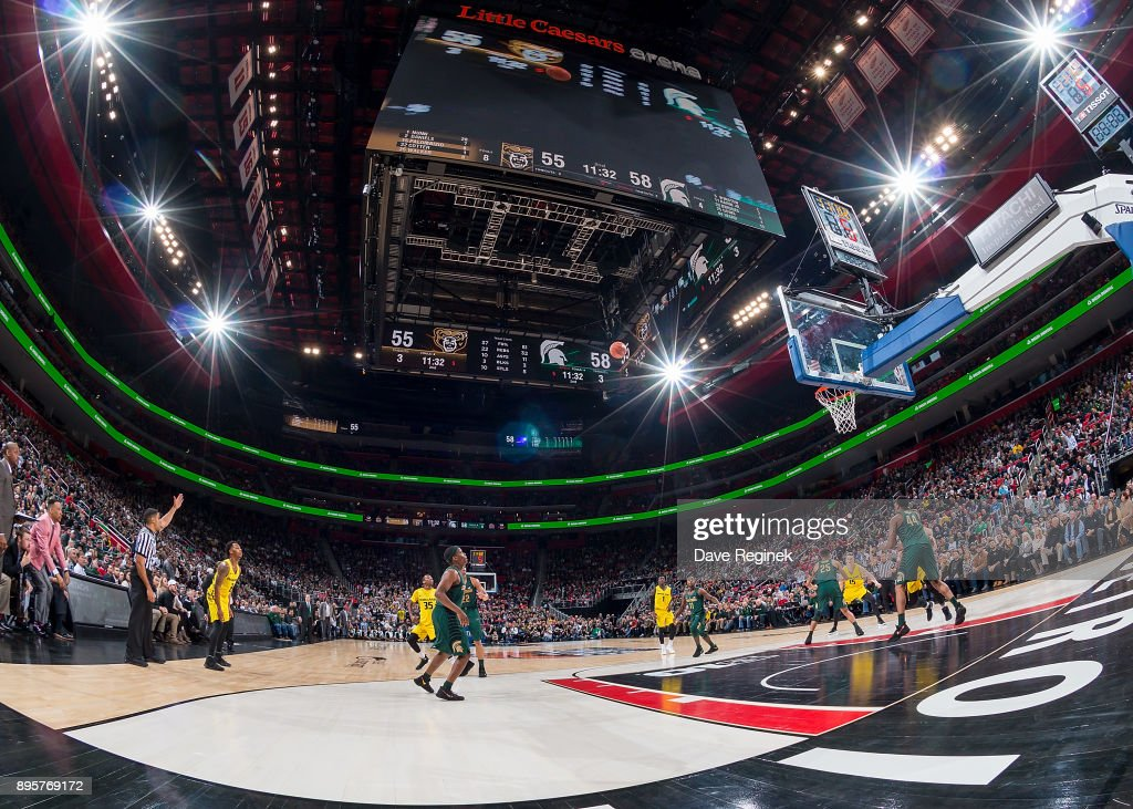 A general view during game two of the Hitachi College Basketball Showcase between the Michigan State Spartans and the Oakland Golden Grizzlies at Little Caesars Arena on December 16, 2017 in Detroit, Michigan. The Spartans defeated the Grizzles 86-73.