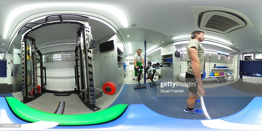 A general view during in the physio van with Raphael Jacquelin of France and Brett Rumford of Australia during the third round of the BMW International Open at Gut Larchenhof on June 25, 2016 in Cologne, Germany.