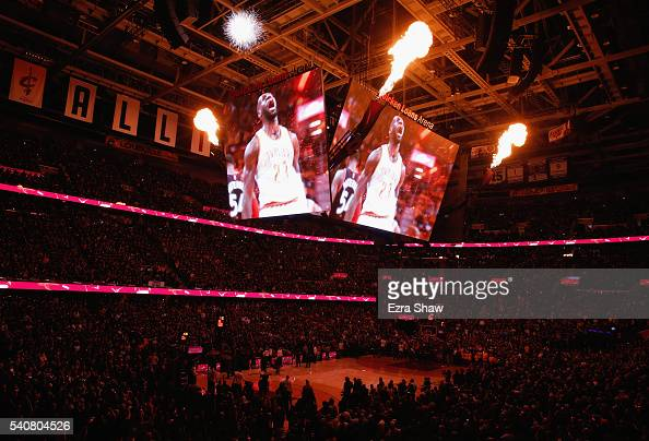 A general view during introductions of the Cleveland Cavaliers and the Golden State Warriors in Game 6 of the 2016 NBA Finals at Quicken Loans Arena...