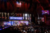 A general view during introductions proir to the start of the first round of the 2014 NFL Draft at Radio City Music Hall on May 8 2014 in New York...