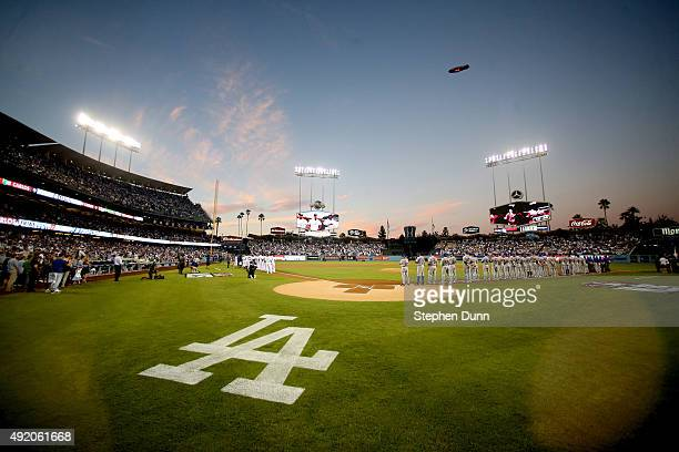A general view during player introductions before game one of the National League Division Series between the Los Angeles Dodgers and the New York...