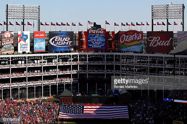 A general view during player the national anthem before Game One of the American League Division Series between the Texas Rangers and the Tampa Bay...