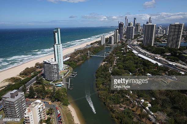 General view during practice for the Gold Coast 600 which is part of the V8 Supercars Championship at the Surfers Paradise Street Circuit on October...
