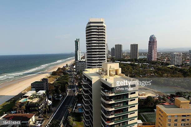 General view during practice for the Gold Coast 600 which is round 12 of the V8 Supercars Championship Series at the Gold Coast Street Circuit on...