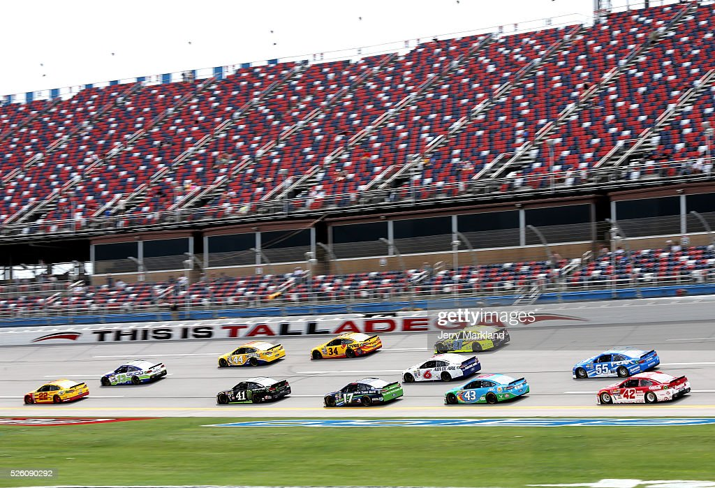 A general view during practice for the NASCAR Sprint Cup Series GEICO 500 at Talladega Superspeedway on April 29, 2016 in Talladega, Alabama.