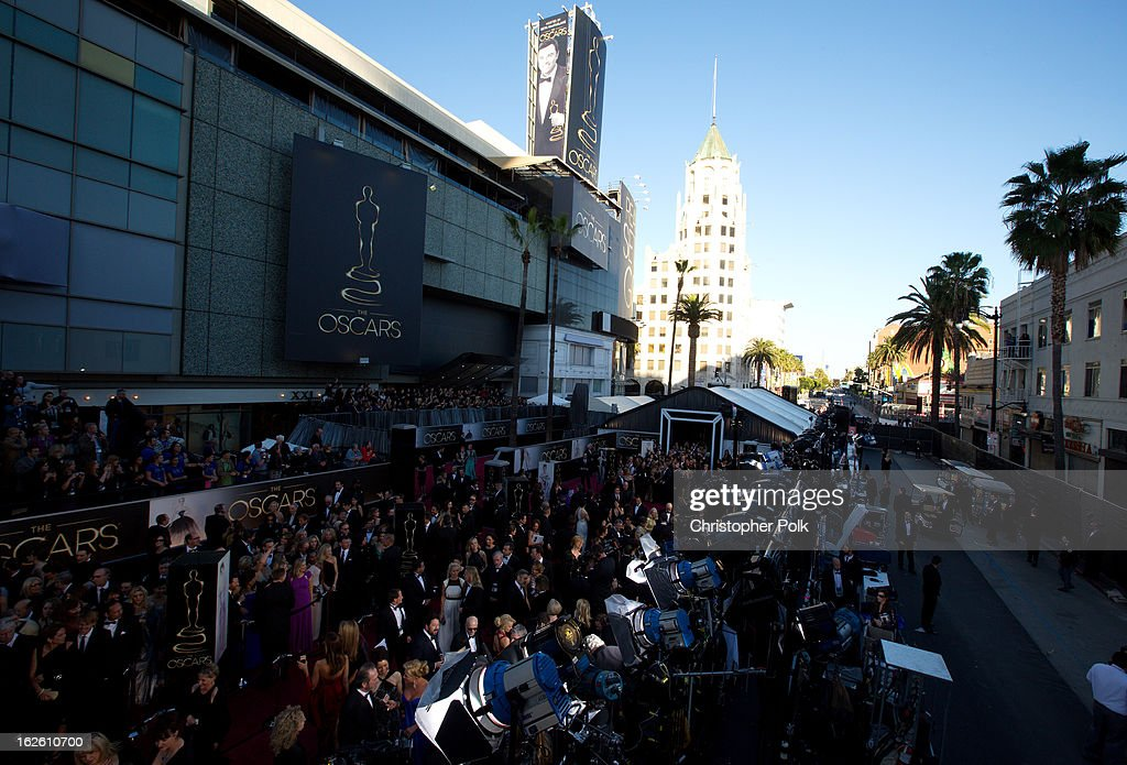 A general view during red carpet arrivals at the Oscars held at Hollywood & Highland Center on February 24, 2013 in Hollywood, California.