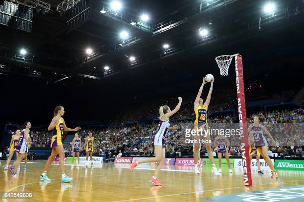 General view during round one of the Super Netball match between the Firebirds and Lightning at Brisbane Entertainment Centre on February 18 2017 in...