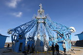 A general view during Russian President Vladimir Putin's visit to the construction site of the Vostochny Cosmodrome a Russian spaceport currently...