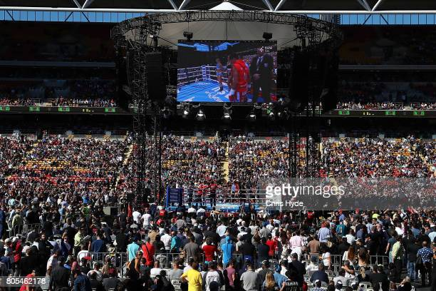 General view during Teiru Kinoshita of Japan and Jerwin Ancajas of the Philippines during their IBF World Junior Bantamweight Titale ahead of the WBO...