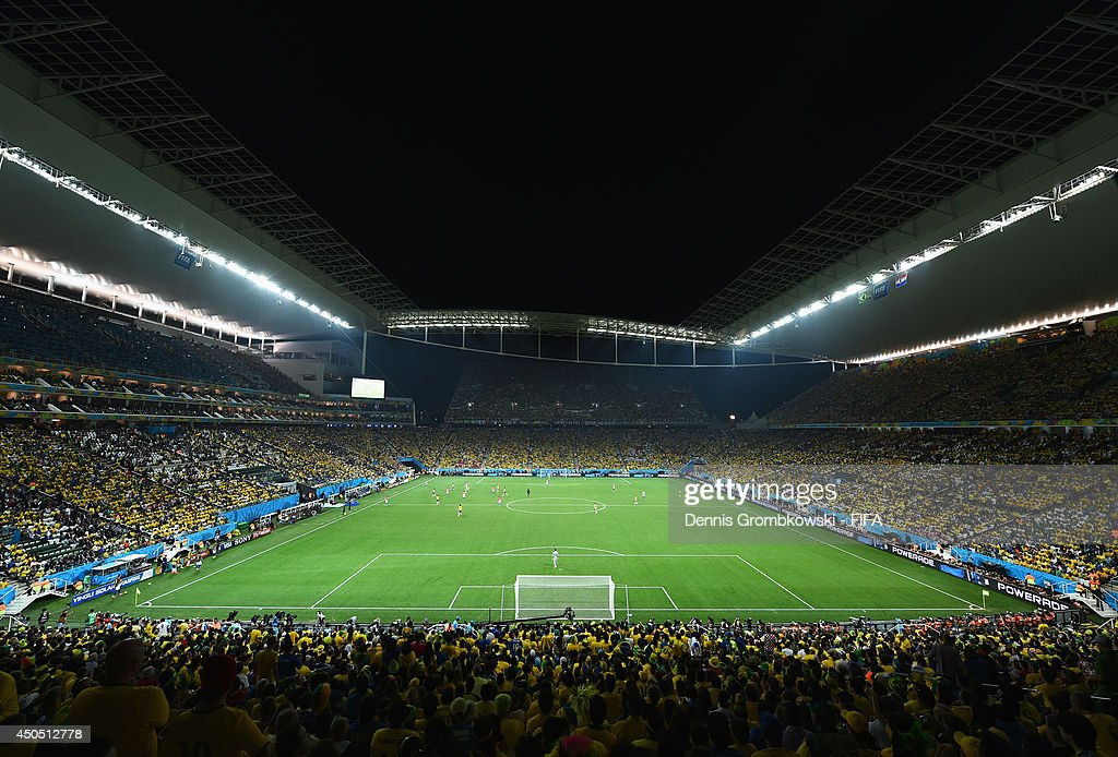 A general view during the 2014 FIFA World Cup Brazil Group A match between Brazil and Croatia at Arena de Sao Paulo on June 12, 2014 in Sao Paulo, Brazil.