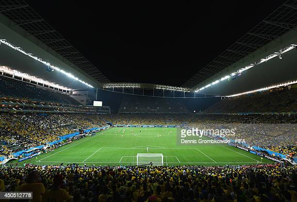 A general view during the 2014 FIFA World Cup Brazil Group A match between Brazil and Croatia at Arena de Sao Paulo on June 12 2014 in Sao Paulo...