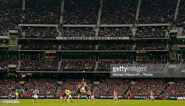 A general view during the 2015 AFL round ten match between the Melbourne Demons and the Collingwood Magpies at the Melbourne Cricket Ground on June 8...