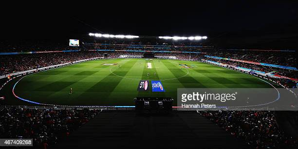 A general view during the 2015 Cricket World Cup Semi Final match between New Zealand and South Africa at Eden Park on March 24 2015 in Auckland New...