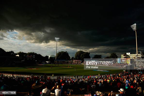 A general view during the 2015 ICC Cricket World Cup match between South Africa and Zimbabwe at Seddon Park on February 15 2015 in Hamilton New...
