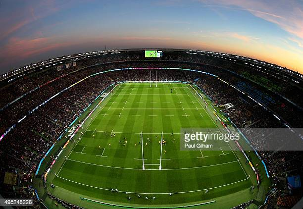 A general view during the 2015 Rugby World Cup Final match between New Zealand and Australia at Twickenham Stadium on October 31 2015 in London...