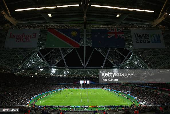 A general view during the 2015 Rugby World Cup Pool C match between New Zealand and Namibia at the Olympic Stadium on September 24 2015 in London...