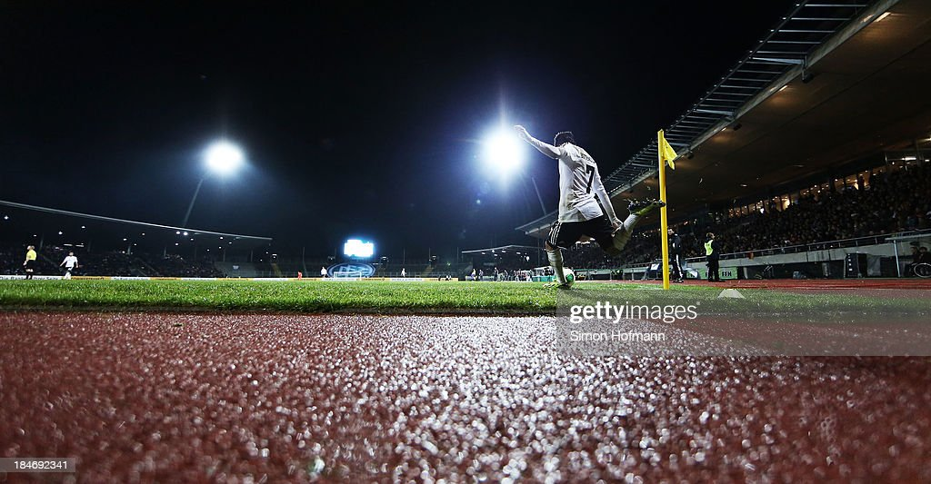 A general view during the 2015 UEFA European U21 Championships Qualifying Group Six match between Germany U21 and Faroe Islands U21 at Auestadion on...
