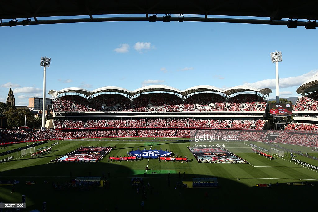 A general view during the 2015/16 A-League Grand Final match between Adelaide United and the Western Sydney Wanderers at the Adelaide Oval on May 1, 2016 in Adelaide, Australia.