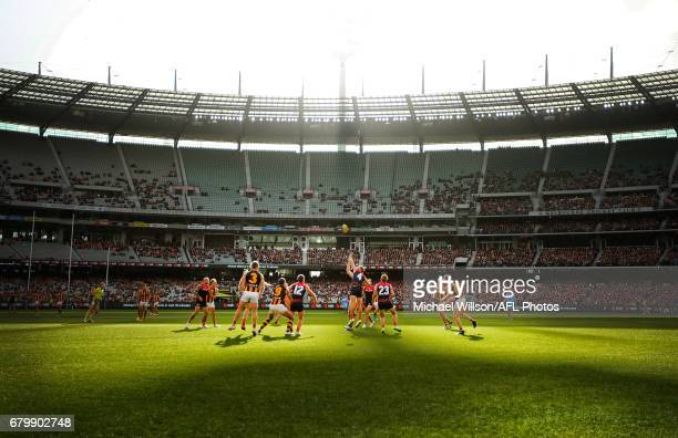 A general view during the 2017 AFL round 07 match between the Melbourne Demons and the Hawthorn Hawks at the Melbourne Cricket Ground on May 07 2017...