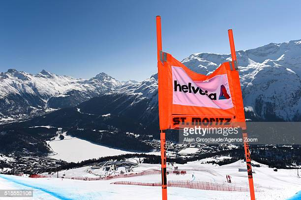 General view during the Audi FIS Alpine Ski World Cup Finals Women's Downhill Training on March 14 2016 in St Moritz Switzerland