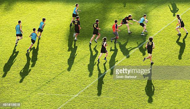 A general view during The Balmoral Quay Cup match involving schools from Geelong and Ballarat before the National Rugby Championship match between...