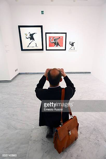 General view during the Banksy 'Guerra Capitalismo and Liberta' exhibition at Palazzo Cipolla on May 23 2016 in Rome Italy