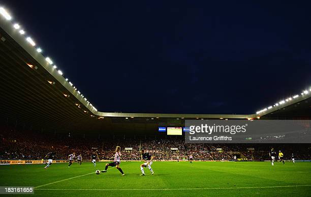 A general view during the Barclays Premier League match between Sunderland and Manchester United at the Stadium of Light on October 5 2013 in...