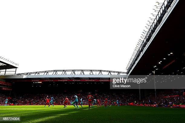 A general view during the Barclays Premier League match between Liverpool and West Ham United at Anfield on August 29 2015 in Liverpool England