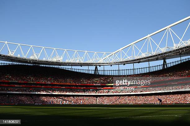 A general view during the Barclays Premier League match between Arsenal and Aston Villal at Emirates Stadium on March 24 2012 in London England