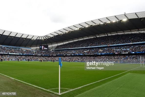 A general view during the Barclays Premier League match between Manchester City and Tottenham Hotspur at Etihad Stadium on October 18 2014 in...