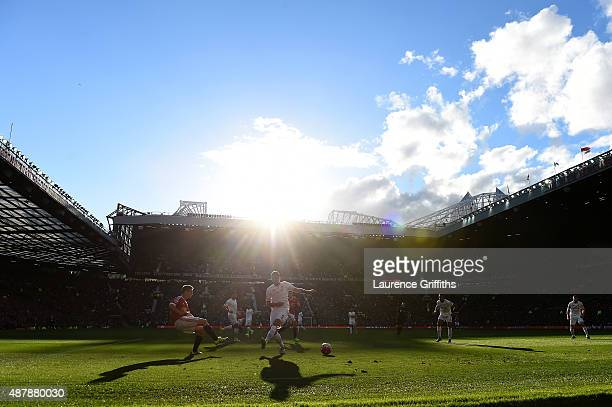 A general view during the Barclays Premier League match between Manchester United and Liverpool at Old Trafford on September 12 2015 in Manchester...