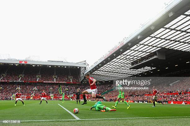 A general view during the Barclays Premier League match between Manchester United and Sunderland at Old Trafford on September 26 2015 in Manchester...