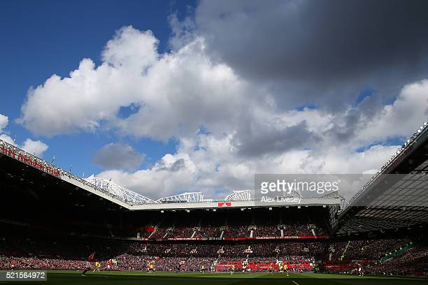 A general view during the Barclays Premier League match between Manchester United and Aston Villa at Old Trafford on April 16 2016 in Manchester...