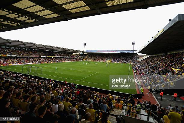 A general view during the Barclays Premier League match between Watford and West Bromwich Albion at Vicarage Road on August 15 2015 in Watford United...