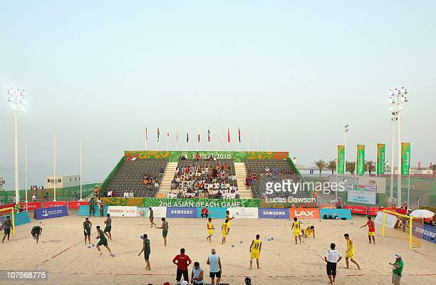 A general view during the Beach Handball at AlMusannah Sports City during day seven of the 2nd Asian Beach Games Muscat 2010 on December 14 2010 in...