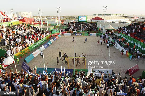 A general view during the Beach Handball at AlMusannah Sports City during day eight of the 2nd Asian Beach Games Muscat 2010 on December 15 2010 in...